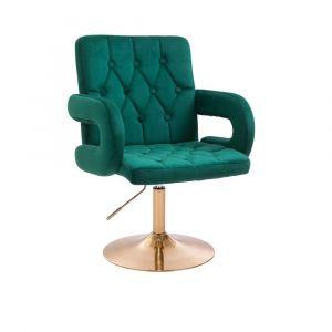 Židle BOSTON VELUR na zlatém talíři - zelená