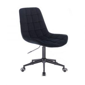 Židle PARIS VELUR na černé podstavě s kolečky - černá