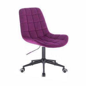 Židle PARIS VELUR na černé podstavě s kolečky - fuchsie