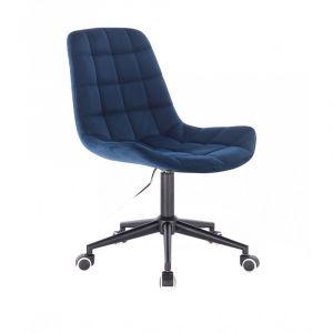 Židle PARIS VELUR na černé podstavě s kolečky - modrá