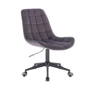 Židle PARIS VELUR na černé podstavě s kolečky - šedá