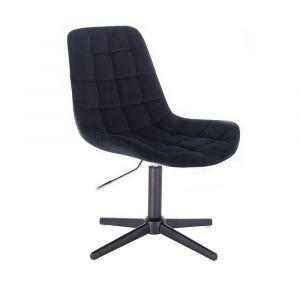 Židle PARIS VELUR na černém  kříži - černá