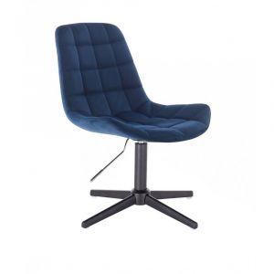 Židle PARIS VELUR na černém  kříži - modrá