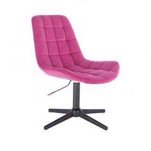 Židle PARIS VELUR na černém  kříži - růžová
