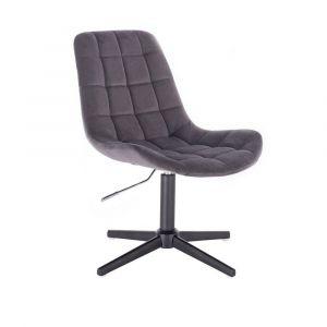 Židle PARIS VELUR na černém  kříži - šedá