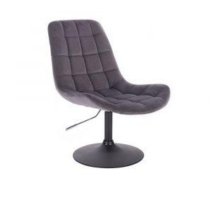 Židle PARIS VELUR na černém talíři - šedá