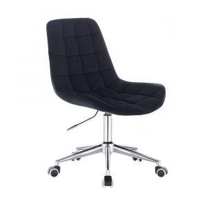 Židle PARIS VELUR na stříbrné podstavě s kolečky - černá