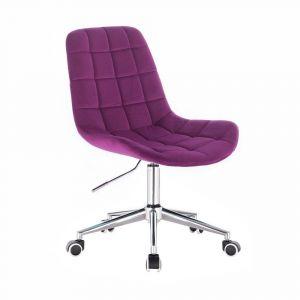 Židle PARIS VELUR na stříbrné podstavě s kolečky -  fuchsie