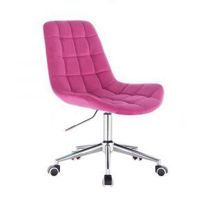 Židle PARIS VELUR na stříbrné podstavě s kolečky -  růžová
