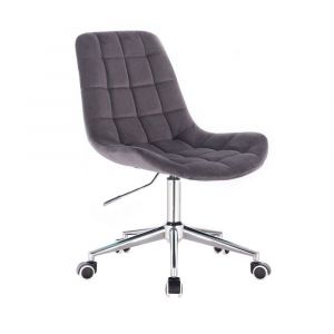 Židle PARIS VELUR na stříbrné podstavě s kolečky -  šedá