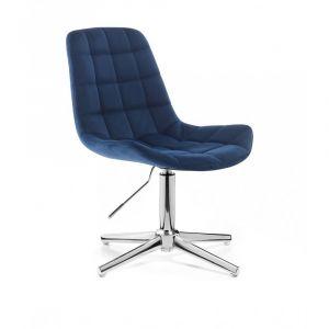 Židle PARIS VELUR na stříbrném kříži - modrá