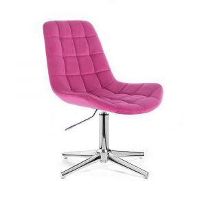 Židle PARIS VELUR na stříbrném kříži - růžová