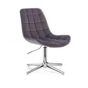 Židle PARIS VELUR na stříbrném kříži - šedá