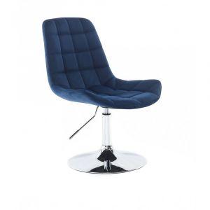 Židle PARIS VELUR na stříbrném talíři - modrá
