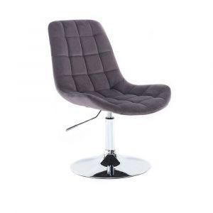 Židle PARIS VELUR na stříbrném talíři - šedá