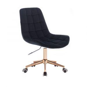 Židle PARIS VELUR na zlaté podstavě s kolečky - černá