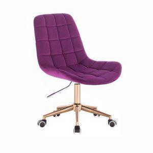 Židle PARIS VELUR na zlaté podstavě s kolečky - fuchsie