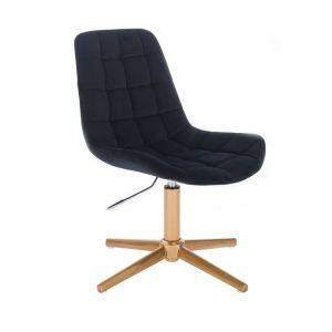 Židle PARIS VELUR na zlatém kříži - černá