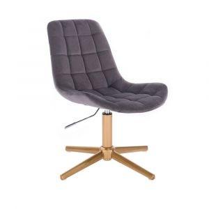 Židle PARIS VELUR na zlatém kříži - šedá