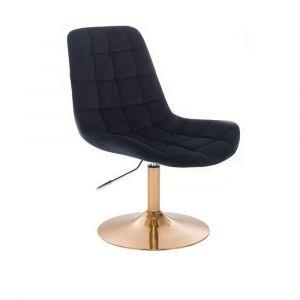 Židle PARIS VELUR na zlatém talíři - černá