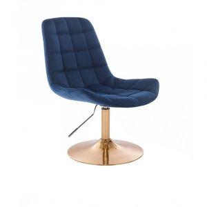 Židle PARIS VELUR na zlatém talíři - modrá