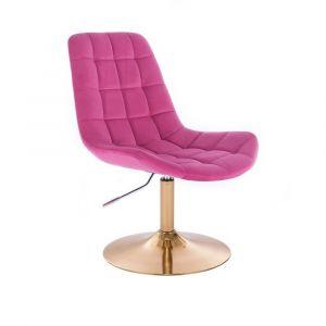 Židle PARIS VELUR na zlatém talíři - růžová