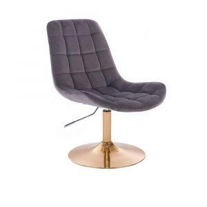 Židle PARIS VELUR na zlatém talíři - šedá