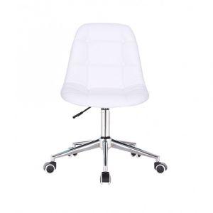 Židle SAMSON na stříbrné podstavě s kolečky -  bílá