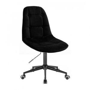 Židle SAMSON VELUR na černé podstavě s kolečky - černá