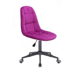 Židle SAMSON VELUR na černé podstavě s kolečky - fuchsie