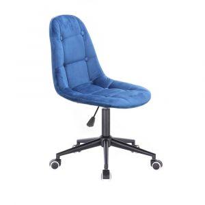 Židle SAMSON VELUR na černé podstavě s kolečky - modrá