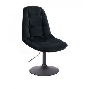 Židle SAMSON VELUR na černém talíři - černá