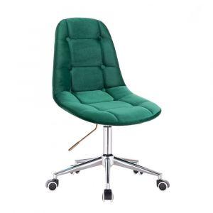 Židle SAMSON VELUR na stříbrné podstavě s kolečky - zelená