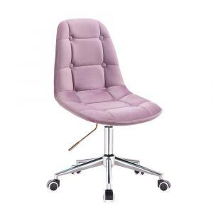 Židle SAMSON VELUR na stříbrné podstavě s kolečky - fialový vřes