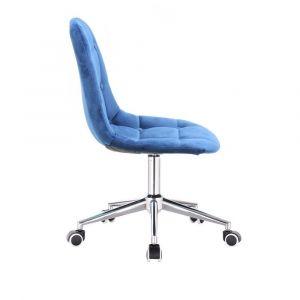 Židle SAMSON VELUR na stříbrné podstavě s kolečky - modrá