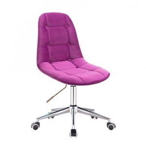 Židle SAMSON VELUR na stříbrné podstavě s kolečky - fuchsie