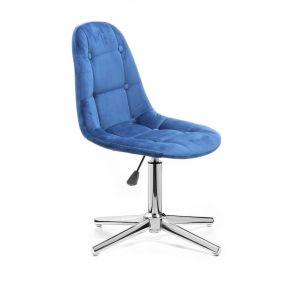 Židle SAMSON VELUR na stříbrném kříži - modrá
