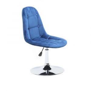 Židle SAMSON VELUR na stříbrném talíři - modrá