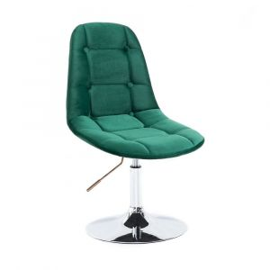 Židle SAMSON VELUR na stříbrném talíři - zelená