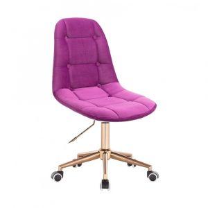 Židle SAMSON VELUR na zlaté podstavě s kolečky - fuchsie