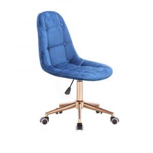 Židle SAMSON VELUR na zlaté podstavě s kolečky - modrá