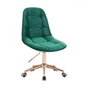 Židle SAMSON VELUR na zlaté podstavě s kolečky - zelená