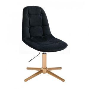 Židle SAMSON VELUR na zlatém kříži - černá