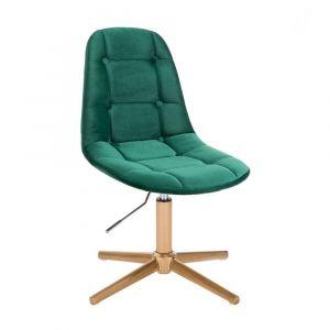 Židle SAMSON VELUR na zlatém kříži - zelená