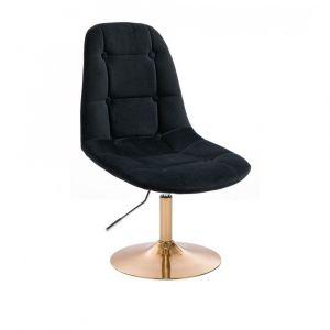 Židle SAMSON VELUR na zlatém talíři - černá