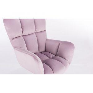 Kosmetické křeslo AURORA VELUR na stříbrné podstavě s kolečky - fialový vřes