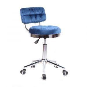 Židle VIGO VELUR na stříbrné základně s kolečky - modrá