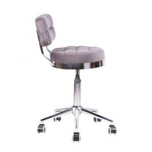 Židle VIGO VELUR na stříbrné základně s kolečky - šedá