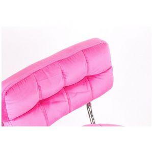 Židle VIGO VELUR na stříbrné základně s kolečky - světlá růžová