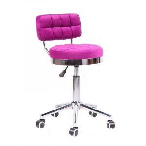 Židle VIGO VELUR na stříbrné základně s kolečky - tmavě růžová